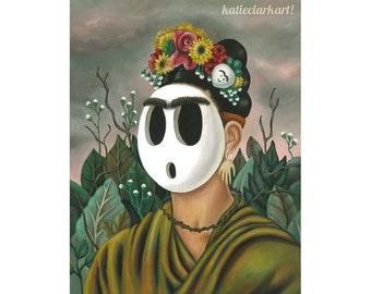 Frida Shyguy Painting - Alternative Frida Kahlo Print - Shy Guy Art - Nintendo- Video Game Fan Art - Frida Kahlo Parody Print Gift for Gamer