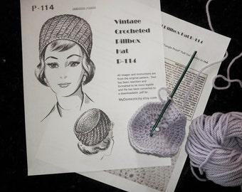 Vintage Crocheted Crochet Pillbox Hat Pattern, 1960s Pillbox Hat P-114 Instant Digital .pdf Pattern Download