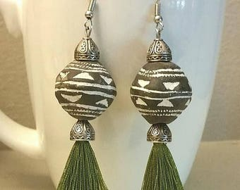Mali clay spindle earrings with tassels
