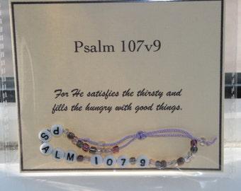 Bible verse bracelets Psalm 107v9 - ready to ship