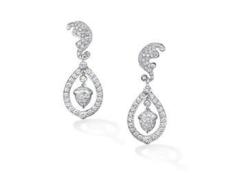 925 Sterling Silver Kate Middleton Replica Earrings Wedding White dangle