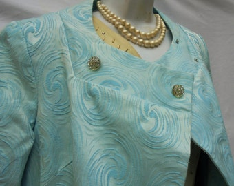 Powder blue coat jacket swing  cover up pin up vintage 50's 60's mid century medium from vintage opulence on Etsy