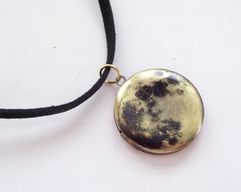 Moon Locket, Brass Art Locket Choker Necklace, Round Moon Locket, Space Locket, Faux Suede Choker, Choker Locket Necklace, Celestial Locket