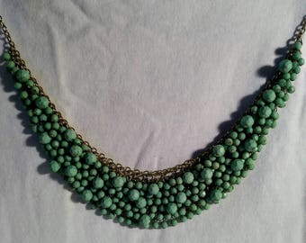 Faux jade crystal cut bead necklace. 1980s