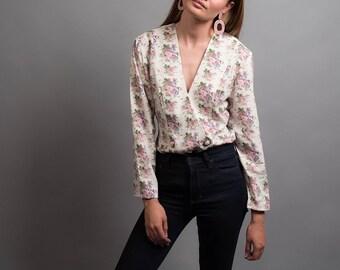 Double-Breast Floral Blazer / Soft Blazer / Vintage 80s Blazer / Long Blazer Δ fits sizes: XS/S/M