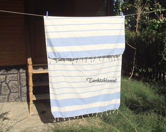 Best Quality Hand Woven Turkish Cotton Bath Towel or Sarong-Natural Cream and Pale Blue