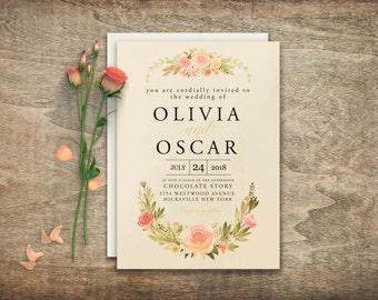 Elegant wedding invitations, Printable wedding invitation, Floral wedding invitation Invitation suite Invitation template DIY wedding BD6008