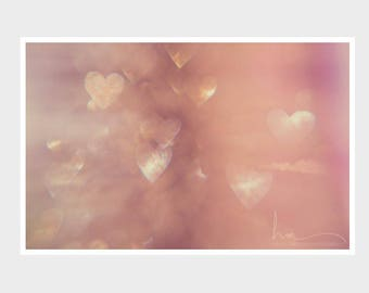 heart photograph, romantic print, sparkle photograph, girls room, pink nursery wall art, abstract hearts bokeh, pink hearts, valentines
