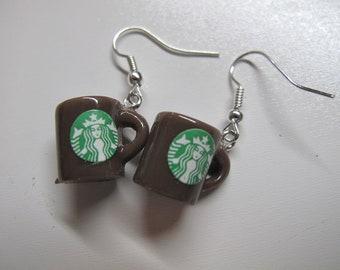 "Cute Mini 1/2"" Coffee Mug Earrings  - 2 different colors available"