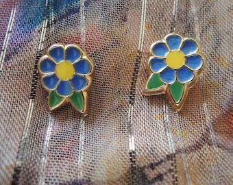 Tiny Blue Flower Stud Earrings
