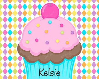 Cherry Sprinkles Cupcake Personalized Notebook Notepad or Planner