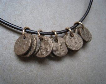 Textured Disk Groups Rustic Bronze Necklace - Disk Necklace - Rustic Necklace