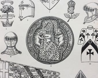 1900 Armorial Bearings Original Antique Print - Mounted and Matted - 10 x 12 inches - Armour - Shield - Abbot - Crest - Heraldry - Royalty