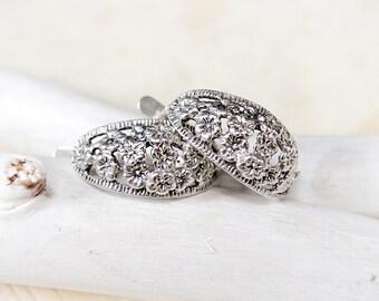 Sterling silver earrings - Vintage sterling silver hoop earrings - Sterling silver flower earrings
