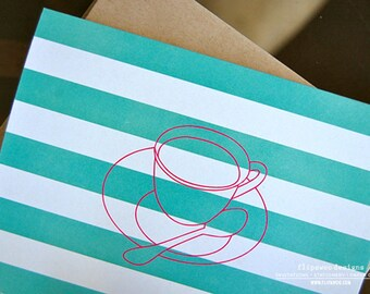Notecard Prints Coffee Cup with Aqua Striped Background - Printed A2 Fold-Over Note Card