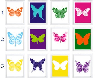 Butterfly silhouette pop art- colorful prints-  art for home Decor Set of  any (6) Primary colors