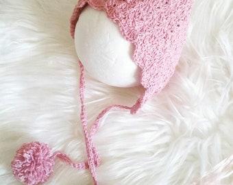 Crochet Newborn Bonnet, Crochet Pixie Bonnet in cotton, Soft Baby Bonnet with pom poms, Baby Gift, Newborn Photo Prop.