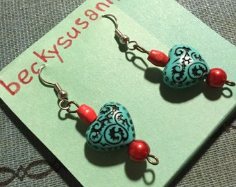 Turquoise Heart Earrings with Red Beaded Accents