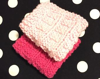 2 Pink washcloths, cotton washcloths, pink cotton cloths, knit washcloths, knit dishcloths, knit cotton cloths, baby washcloths, baby cloths