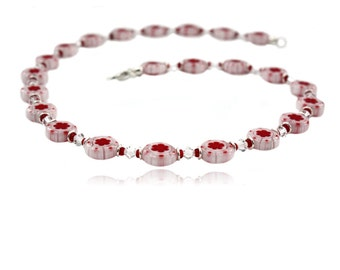 Glass beads chain lollipop red white silver with carabiner, gifts for women girls, Millefiori