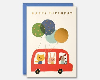 Red Bus and Balloons Birthday Card by James Ellis