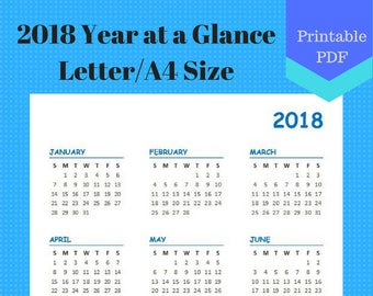 2018 Year at a Glance Letter Size, Year on one page, Calendar Pages, Planner, A4, Discbound