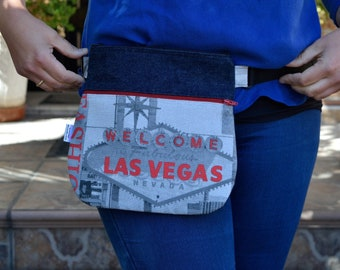 Waist bag,fanny pack,reversible waist bag,las vegas fanny pack,denim waist bag,reversible purse,reversible handbag,jeans waist bag,hips bag