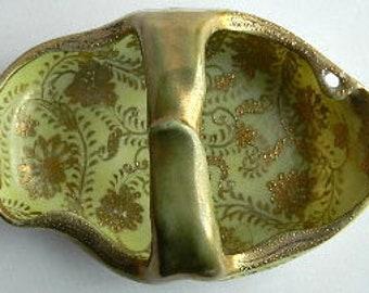 I.E.&C. Co. Japan Antique Hand-Painted Gold Design Basket Dish