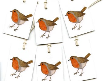Robin Gift Tags Robin Redbreast Parcel Labels with string