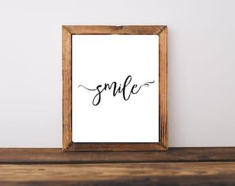 Typography Print - Smile Print - Inspirational Print - Motivational Print - Kids Room Decor - Nursery Decor - Dorm Decor - Wall Art