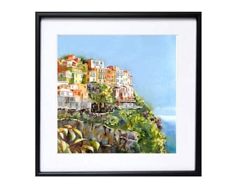 Italian landscape art,Fine Art Watercolor Print, Cinque Terre,Italy, Italian village, Blue painting, Home interior decor Christmas Time Sale