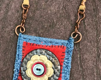 Boho Necklace with hand-sewn detail and handmade ceramic button
