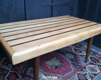 Sold Mid Century Modern Slat Bench Coffee Table - Danish Modern Bench - Vintage Mid Century Slat Bench - Mid Century Modern Coffee Table