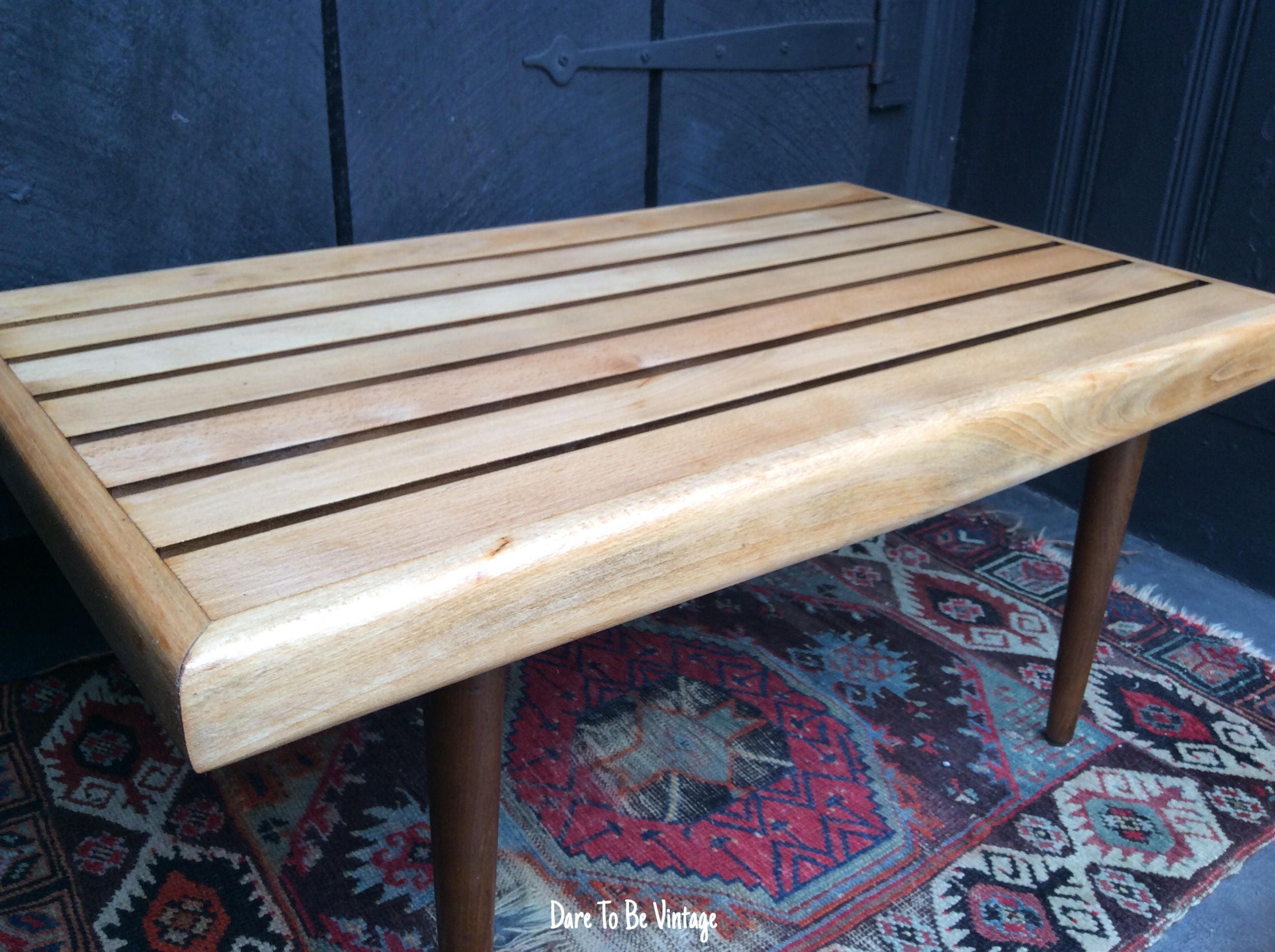 Mid Century Modern Slat Bench Coffee Table Danish Modern