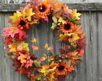 FALL WREATHS 25% OFF Fall Wreath, With Festive Autumn Florals, Front Door Wreaths, Fall Wreath, Thanksgiving Wreath, Wreath, Wreath For Door