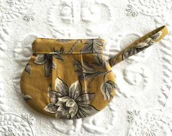 Zipper Pouch - Clutch - Bag - Reproduction Gold Print - Made to Order - Purse Organizer -Zipper Bag - Small Clutch  - Make up bag - Earbud