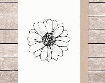 A5 floral card, A5 card, A5 greeting card, illustrated card, blank card, card and envelope, daisy card, daisy flower