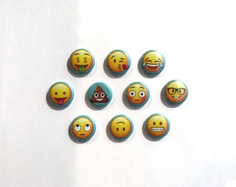 Emoji Buttons - 1 inch pinback buttons - Emoji Pins - Emoji Badges - Emoji Magnets