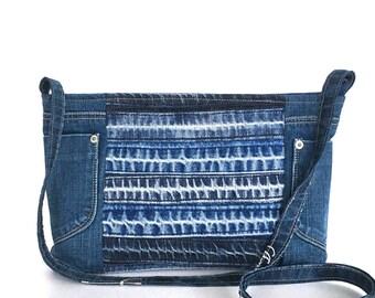 Recycled messenger bag , Blue denim side purse ,Upcycled jean bag ,Vegan denim purse ,Girls cross body bag ,Blue bag ,Teens travel bag ,