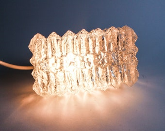 Vintage 70s impressive  icecube lamp - plastic foot & glass lampshade in shape of a rough crystal structure