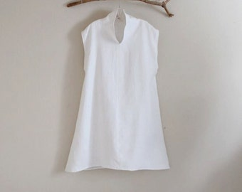 custom cloud chipao collar heavy weight  linen tunic