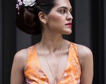Orange and Blush Pink Mixed Media Silk Crop Top