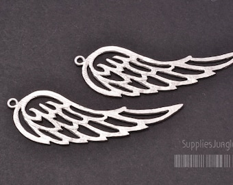 P344-MR// Matt Rhodium Plated Angel Wing Pendant, 2pcs