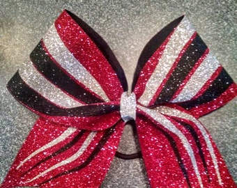 Red, black and silver wavy line cheer bow