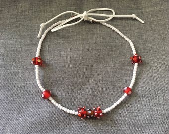Beaded Red & White Lady Bug Necklace