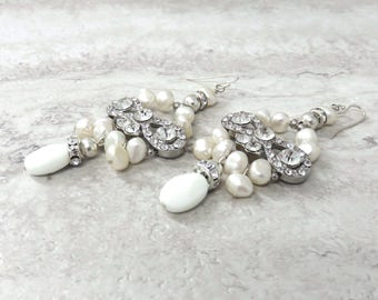 Pearl Chandelier Earrings with Crystals for Weddings-Sparkly Bridal Earrings in Ivory White Pearls & Unique Rhinestone Bow with drop