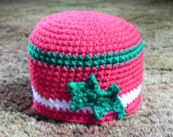 Christmas Stripe Hat with Holly Leaf