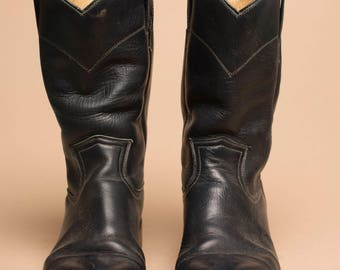 Pecos Bill Perfect Vintage Black Leather Western Boots size 6