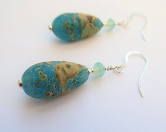 Sandsend, Aqua and Sand Artisan Glass Earrings