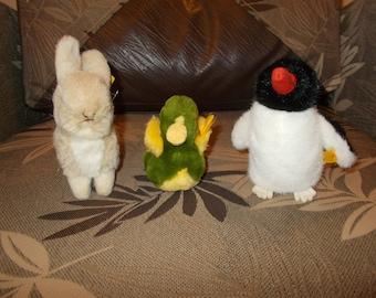 Vintage Steiff lot, rabbit, chicken and penguin